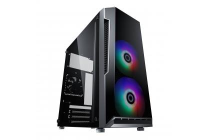 HIZLI ALTO Micro-ATX Gaming Casing With 2 RGB Fan + Thermaltake Litepower 450W/550W/650W / Salpido ATX-500W Power Supply